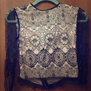 Soft Light Pink & Black Cropped Lace Top